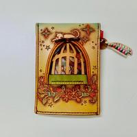 本革 カードケース Birdcage with CAT/やじましょうこ