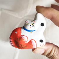 habotan / 鯛くっつき猫 土人形