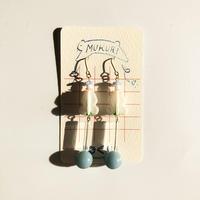 むくり  /  furicoピアス |White &水色玉