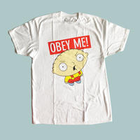 83SELECT / OBEY ME !   Stewie Griffin from  Family Guy T-shirt