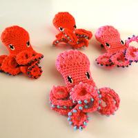 編みタコ ブローチ [ Knitting Octopus Brooch Ruby]/ 203gow