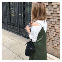 [予約商品] satin w/m dress (green)