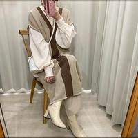 配色メッシュlong vest