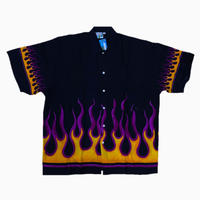 D/S FLAME  SHIRTS BLK/PURPLE