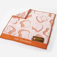 [雑貨]ジャガード織りミニハンカチタオル「パンどろぼう」オレンジ