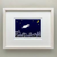 [原画]むらかみひとみさん⑤版画額付き 「夜の街とムー」