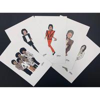 西寺郷太イラストレーション ポストカード5枚セット「Thriller」