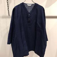 FUJITO (フジト)   Henley Neck Shirt Indigo linen100%