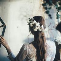 フィリカとくすみパープルのスターチスと小花のヘッドドレス