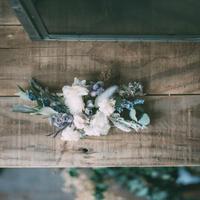 ドライユーカリとデルフィニューム、紫陽花のくすみヘッドドレス