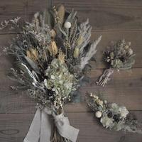ユーカリと紫陽花のスワッグブーケ・ブートニア・ヘッドドレス(3点set)