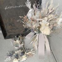 ホワイト×ブルーグレーの bouquet set(3点セット)