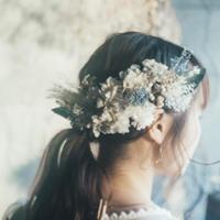くすみブルーグレーのアキレアと紫陽花・パンパスグラスのヘッドドレス