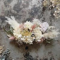 くすみピンクと白紫陽花・パンパスグラスのヘッドドレス