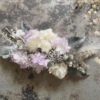 薄むらさき紫陽花とくすみグレーのヘッドドレス