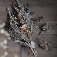 草花とワイルドフラワーのブーケ・ブートニア・ヘッドドレス(3set)