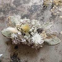 オレガノパープル紫陽花とラムズイヤーのヘッドドレス