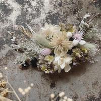 薄紫×くすみグリーンのグラデーション紫陽花とラグラス、小花のヘッドドレス