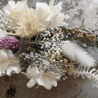 ミモザアカシアと白紫陽花とかすみ草のヘッドドレス