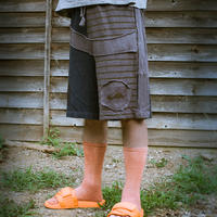 Patchwork Half Pants / Blue (M size)