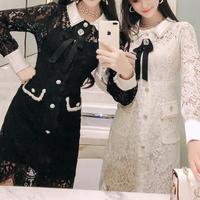 Elegant lacy bijjou brooch dress(No.300762)【2color】