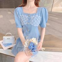 Waffle lace design denim dress(No.302127)