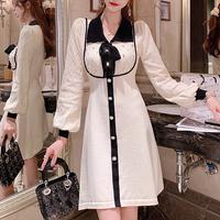 Merry two tone bijou knit dress(No.301704)【red , white】