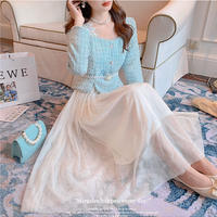 Ice blue tweed docking tulle dress(No.030956)