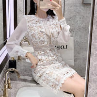 Simple lady white lacy dress(No.301559)
