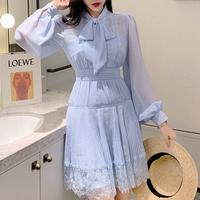 Icy blue chiffon shirt dress(No.301430)