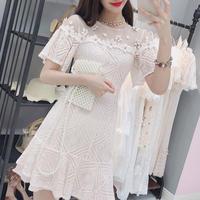 décolleté bijjou flower lace dress(No.300682)