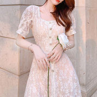 Lady lacy long dress(No.301191)