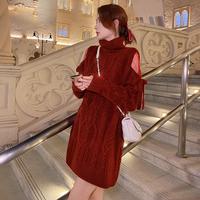 Chic rose design shoulder knit dress(No.301920)