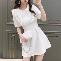 Bijou collar waist line dress(No.302173)【2color】