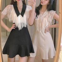 Classical drape lace docking dress(No.301230)【3color】