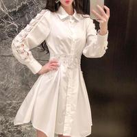 Waist line lacy shirt dress(No.300987)