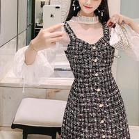 Heart cut tweed dress & blouse set(No.300766)【black , white】