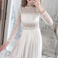 Long pleats white lace dress(No.300955)