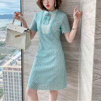 Lady brooch lace midi dress(No.301289)【purple , mint】