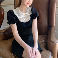 Bijou collar puff sleeve dress(No.301482)