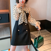 Dot blouse & double button dress(No.301567)