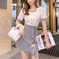 Lady blouse & ruffle zipper skirt set(No.301486)