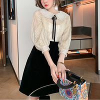 Elegant ruffle collar mono dress(No.301524)