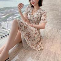 Vintage flower lace dress (No.301258)【2color】