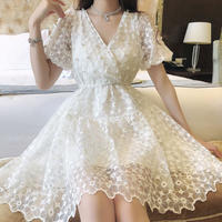 A-line point pearl lace dress(No.301339)【white , blue , pink】