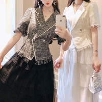 Lady tweed jacket & tulle long skirt set(No.300761)【2color】