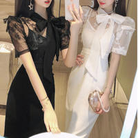 Butterfly lace docking midi dress(No.301347)【2color】