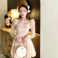 Nude pearl lacy flare dress(No.302149)
