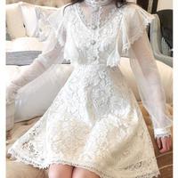 Bijjou button flower lace dress(No.300981)【3color】