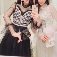 Décolleté heart cut tulle long dress(No.300775)【white , black】